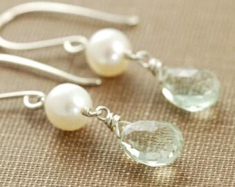 Green Amethyst and Pearl Drop Handmade Earrings, February Birthstone Gemstone Earrings