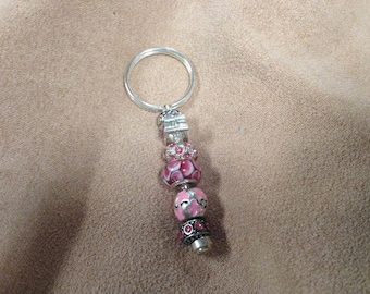 Vintage Silvertone Breast Cancer Awareness Key Chain