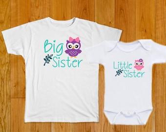 Big Sister Little Sister Owls - Matching Shirts - Big Sister Shirt - Little Sister Shirt - Matching Sister Shirts - Sister Matching Shirts