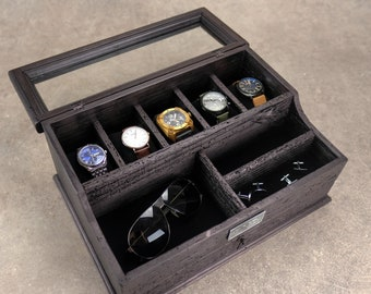 Men's Valet, Watch Case, Men's Watch Box, Valet Box, Watch Box for Men, Boyfriend Gift -Men's Valet Box for 5 watches with Drawer - Black