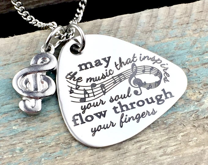 Engraved Music of the Soul Guitar Pick Necklace, musician jewelry, musical, instrument, strum, strings, artist, band jewelry, necklace,