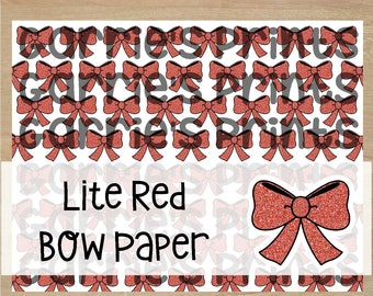 Printable | Lite Red Glitter Bow Print |