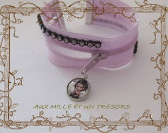 Bracelet zipper and chocolate Miss