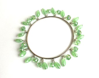 Mint green bead bangle with glass beads and crystals