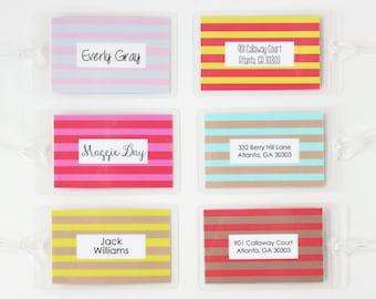 Girls Diaper Bag Tag Kids Luggage Tag Custom Striped Stripes Boys Personalized Family Luggage Tags Beach Wedding Favors Bridesmaid Gifts