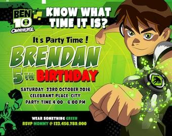 Ben10 Invitations, Ben10 Invitation, Ben10 Invitation, Ben10Birthday, Ben10 Party, Ben10 Card, Ben10 Printables, Custom + Thank You Card