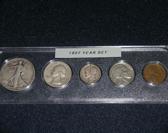 1937 Circulated Coin Year Set  - Vintage coin set