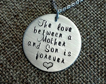 Sterling Silver Necklace from Son to Mom on Mothers Day, Love Between Mother Son Necklace Gift for Mom, Personalized Gift to Mother from Son