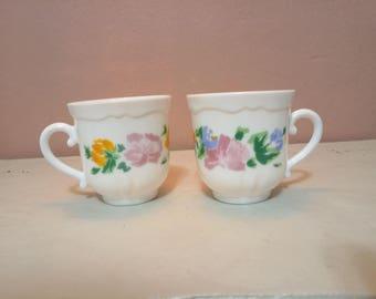Vintage Cups - 2 Tea Party Set - Vintage Tea Cups - Matched Tea Cups - Bulk Tea Cups- Tea Party- Baby Shower- Bridal Shower
