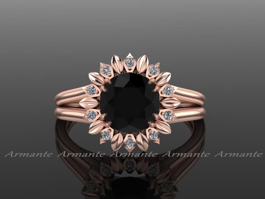 Sunflower Engagement Ring Black Diamond Engagement Ring Diamond