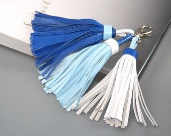 Blue Leather tassel- White tassel Tassel keychain Blue tassel Leather tassel Key ring Purse charm Mothers day gift Tassels for handbags