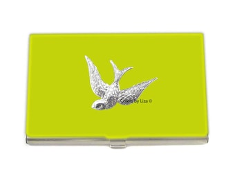 Swallow Business Card Case Hand Painted Glossy Enamel Yellow Opaque Art Nouveau Inspired with Color and Personalized Options