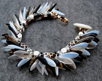 Beaded Cuff Bracelet - Dagger Fringed - Neutral by randomcreative on Etsy