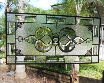 Beveled Stained Glass Panel, Traditional Crystal / Frosted Stained Glass Transom Window, Vintage Stained Glass Window, Antique Glass Valance