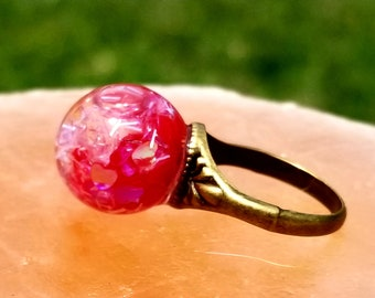 Glass Bead Ring with Hearts And Glitter