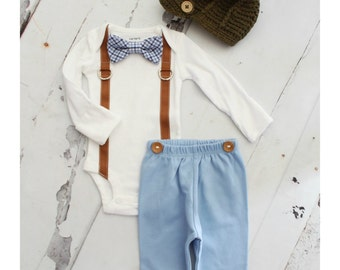 Newborn Baby Boy Coming Home Tie Outfit Set up to 4 Items. Bow Tie and Suspender Bodysuit, Navy Blue Pants & Knit Newsboy Hat Summer
