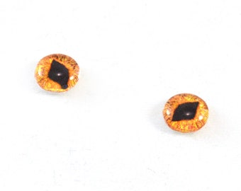 6mm Bright Orange Cat Glass Eye Cabochons - Taxidermy Eyes for Doll or Jewelry Making - Set of 2