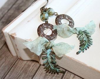 Shabby Boho Earrings, Blue Green earrings, Verdigris dangle earrings, Vintaj jewelry, Patina jewelry