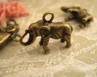 5 x bronze (BBFIC) brass elephant charms pendants