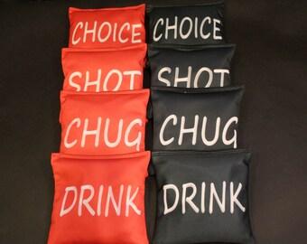 Drink Chug Shot Choice Cornhole Bean Bags ACA Regulation Party Corn Hole Game Bags Red Black
