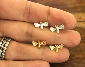 Silver or Gold plated Tiny cute Bumblebee Honey Bee earrings studs