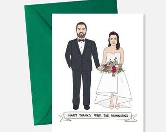 Wedding Thank You Cards Custom - Wedding Thank You Note - Illustrated Wedding Thank You Card Portrait - Custom Portrait Wedding Illustration