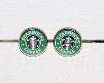 Starbucks Coffee Logo Round Glass Cabochon Stud Earrings 12mm Nickel Free Hypo Allergenic Stainless Steel