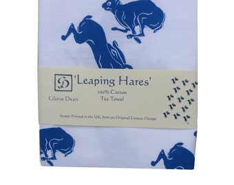 Large cotton Tea Towel with Leaping hares pattern