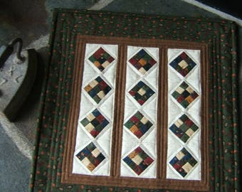 A Little Strippy Wall Hanging or Table Topper in Green (Item # 221)