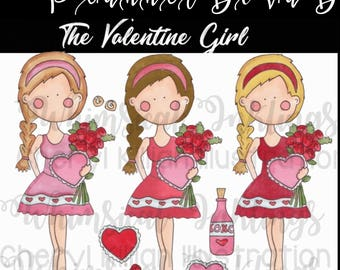 Valentine Girl PNG, planner sticker clip art, small commercial use, 300 DPI, can be resized