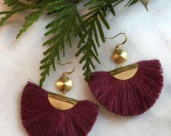 Large tassel fan earrings