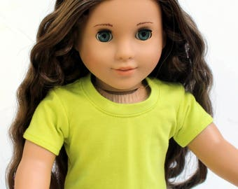 Fits like American Girl Doll Clothes - Short Sleeve Tee in Kiwi | 18 Inch Doll Clothes