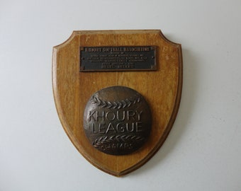 VINTAGE 1960 SOFTBALL plaque AWARD - khoury league champs - khoury softball assn. - besel belles - petite division