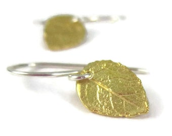 Petite Gold Leaf Earrings with Sterling Silver Tiny Mixed Metal Dangle Woodland