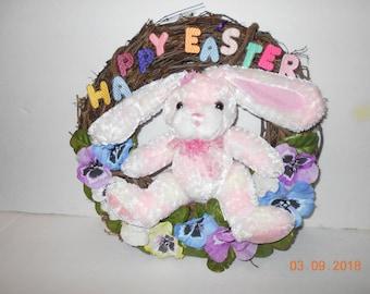 Happy Easter, Bunny, Wreath, door hanging, Spring, Rabbit