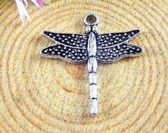 Tibetan silver dragonfly charms 8 charms