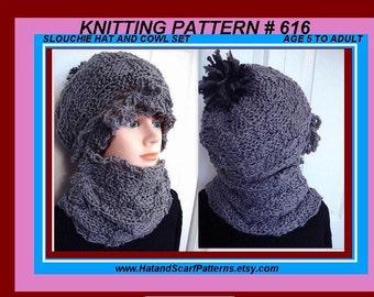 Instant download,  hat knitting pattern,(pdf file) , Basket-weave Hat and Cowl,  boy, girl, children, adult, men, women. num 616,