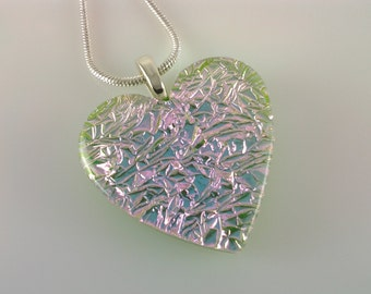 ON SALE - Dichroic Heart Pendant, Fused Glass Jewelry, Pink Spring Green Dichroic Heart