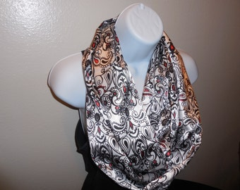 Paisley Infinity Scarf with Red