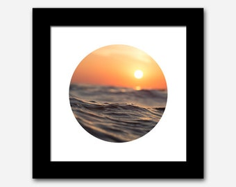 Printable Art, Waves Beach Sunset Photograph, Circle Round Photo Print, Square Print, Minimalist Print, Modern Print