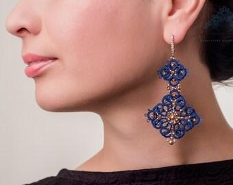 """Tatting lace earrings """"Jeanne Dubarry"""" handmade"""