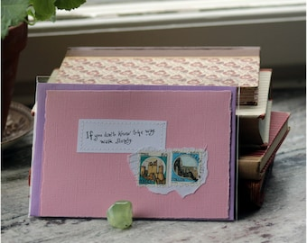 If you don't know the way walk slowly Handmade pale pink card with handwritten quote and castle postal stamps