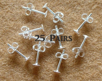 925 Sterling Silver Pad Earring Posts (4mm) and  Earring Backs - 25 Pairs (50 Pieces)