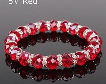 Classic Crystal Bracelet 10mm Crystal Beads 8mm Crystal Wheels 5 Colors