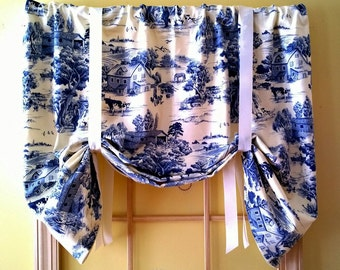 Toile tie up window valance, country, traditional french window valance, blue and white print with an inspiring farming themed fabric.
