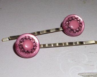 Hair Pins, bobby pins, pink, bridesmaids, bridal, button