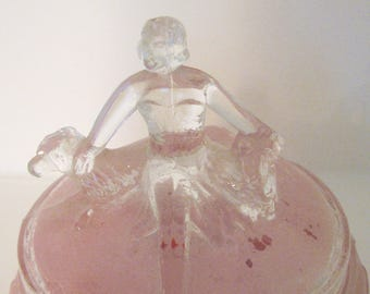 Art Deco Powder Vanity Pink Glass figural Annette Jar with Dogs