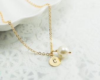 Initial pearl necklace, initial necklace, initial charm, pearl charm necklace, gold charm necklace, charm necklace, cute necklace