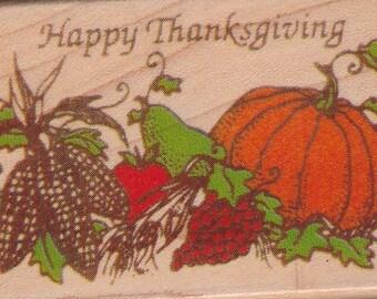 Happy Thanksgiving Rubber Mounted Stamp Inkadinkado Pumpkin Corn