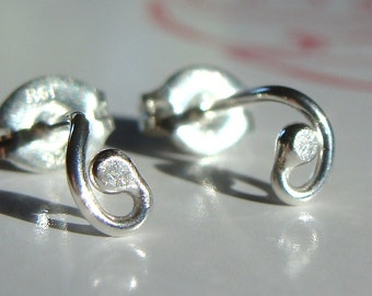 Tiny Curly Sprouts Sterling Silver Post Earrings Stud Earrings Studs